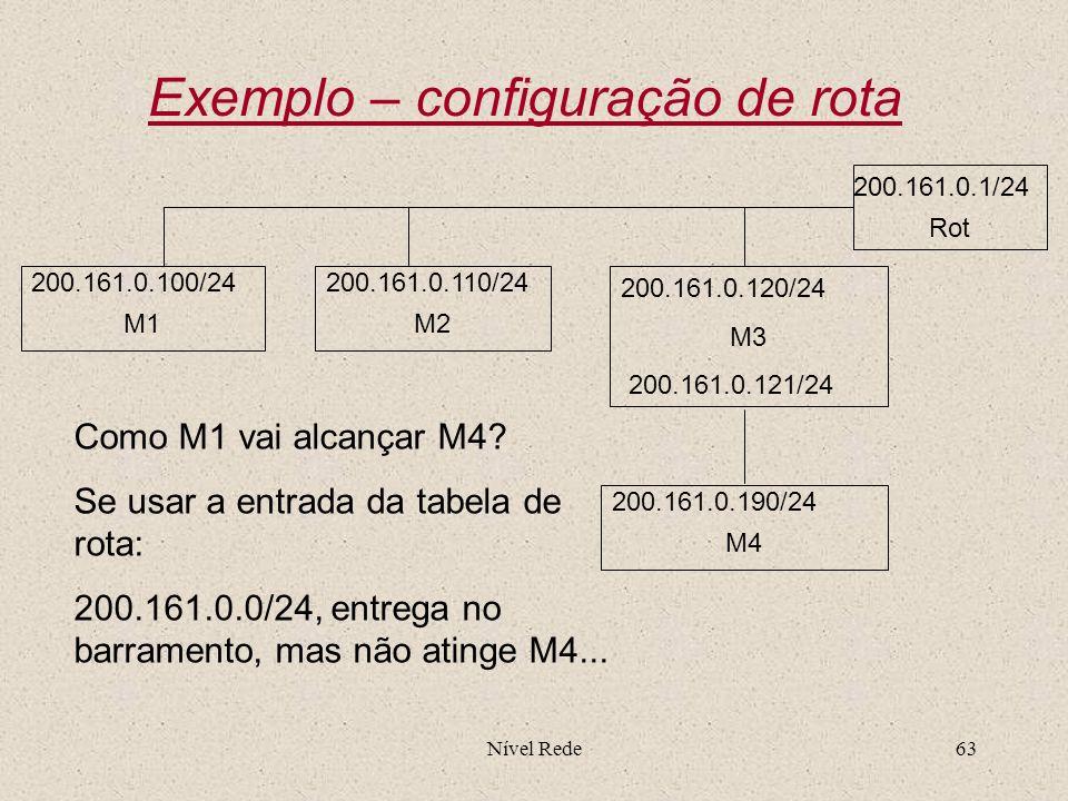 Exemplo – configuração de rota