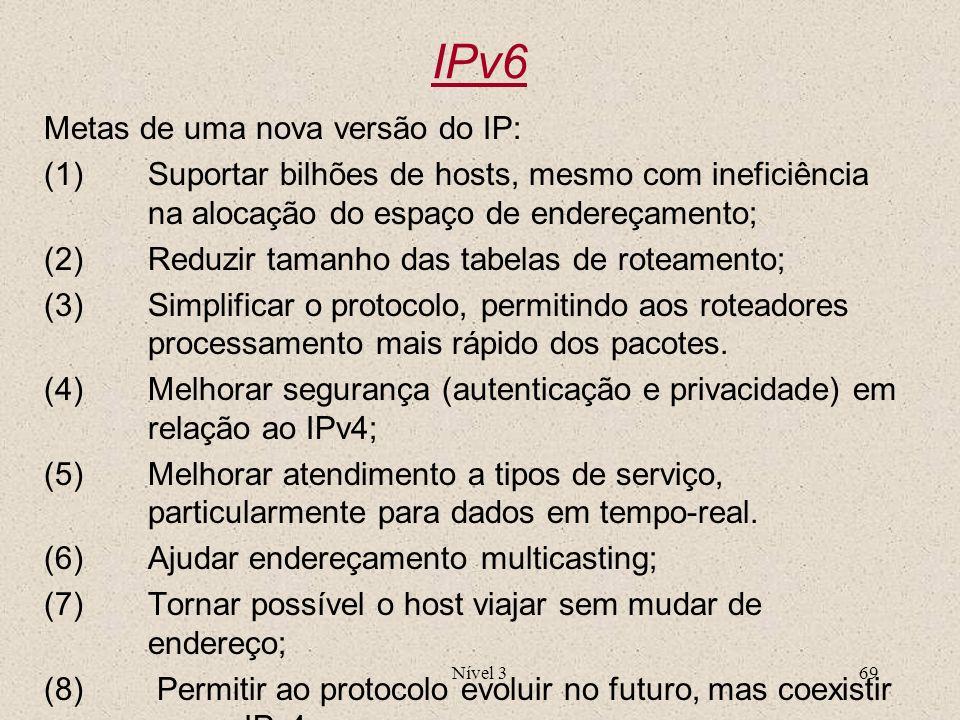 IPv6 Metas de uma nova versão do IP: