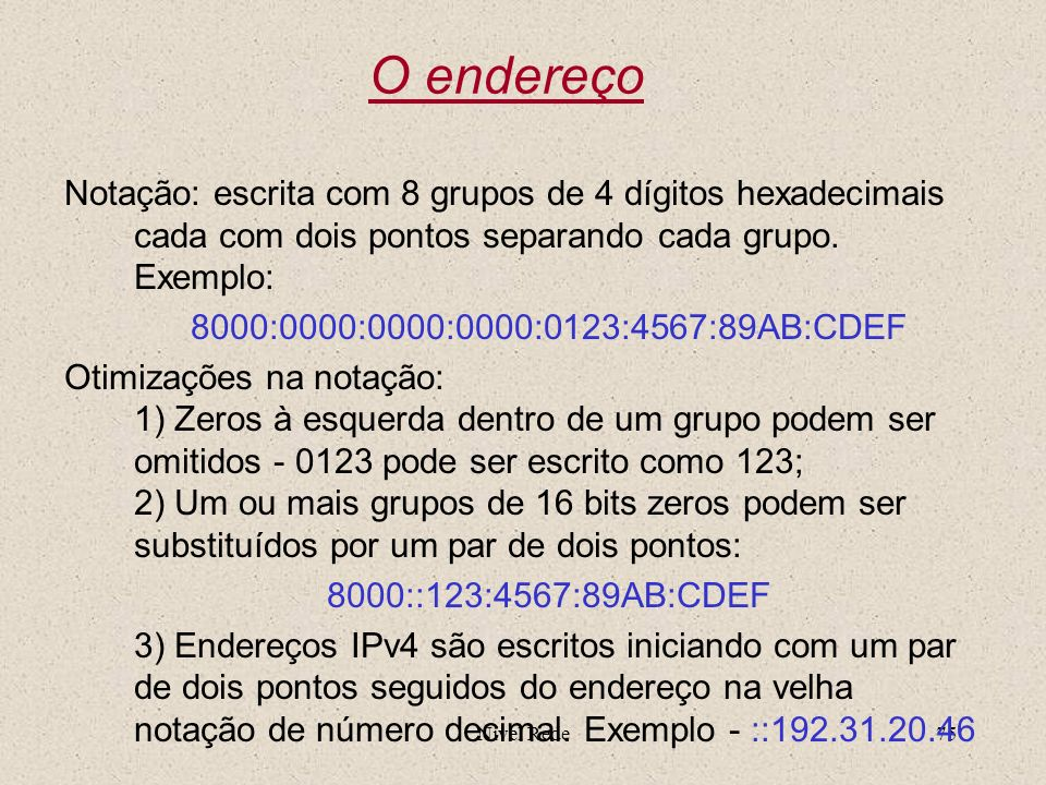 O endereçoNotação: escrita com 8 grupos de 4 dígitos hexadecimais cada com dois pontos separando cada grupo. Exemplo:
