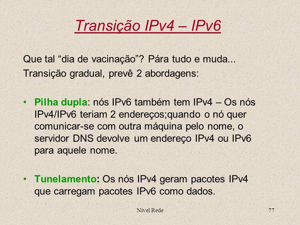 Transição IPv4 – IPv6 Que tal dia de vacinação Pára tudo e muda...