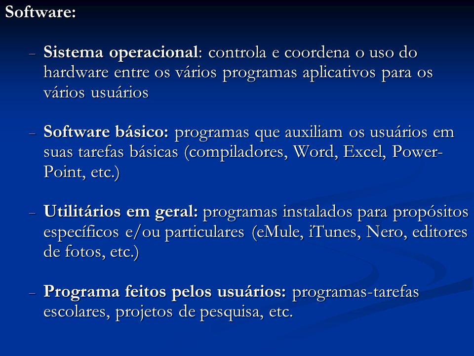 Software: Sistema operacional: controla e coordena o uso do hardware entre os vários programas aplicativos para os vários usuários.