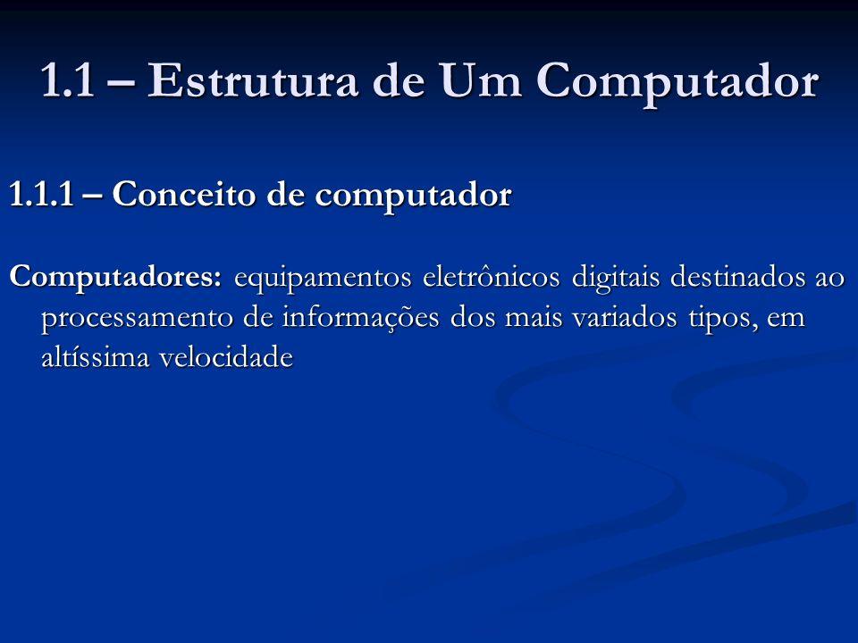 1.1 – Estrutura de Um Computador