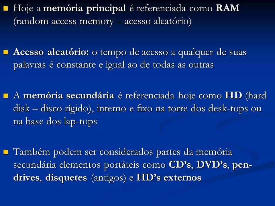 Hoje a memória principal é referenciada como RAM (random access memory – acesso aleatório)