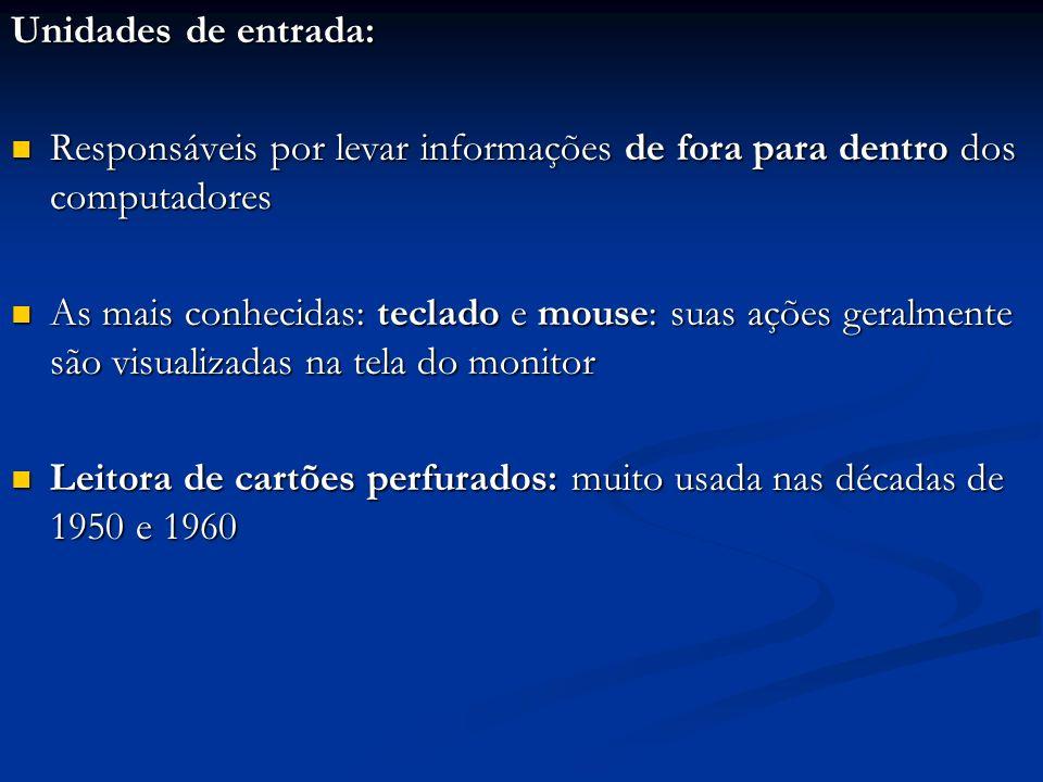 Unidades de entrada: Responsáveis por levar informações de fora para dentro dos computadores.