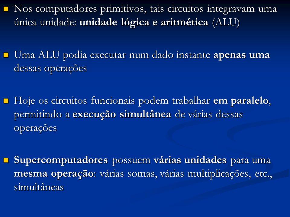 Nos computadores primitivos, tais circuitos integravam uma única unidade: unidade lógica e aritmética (ALU)
