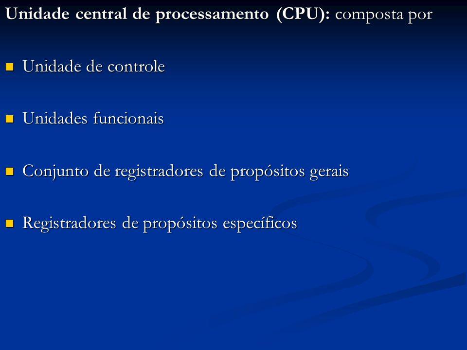 Unidade central de processamento (CPU): composta por