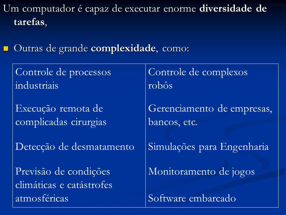 Um computador é capaz de executar enorme diversidade de tarefas,