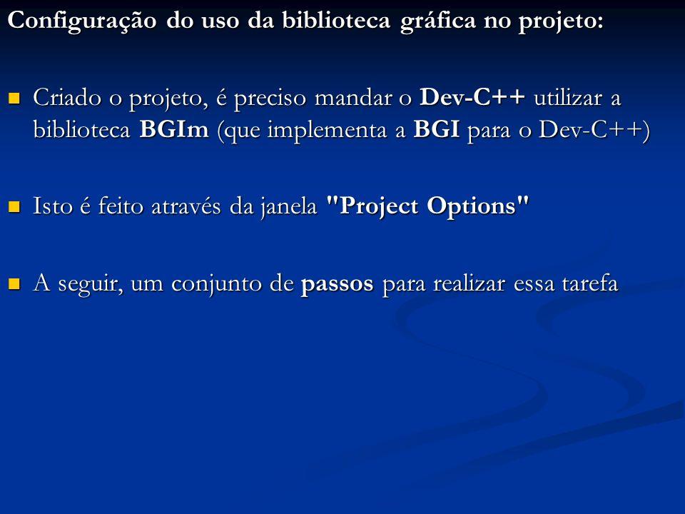 Configuração do uso da biblioteca gráfica no projeto: