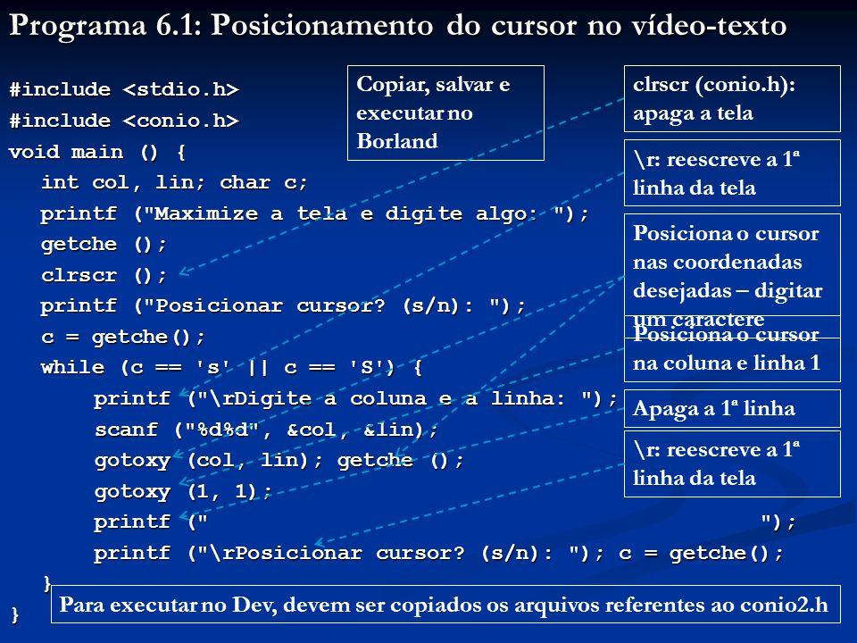 Programa 6.1: Posicionamento do cursor no vídeo-texto