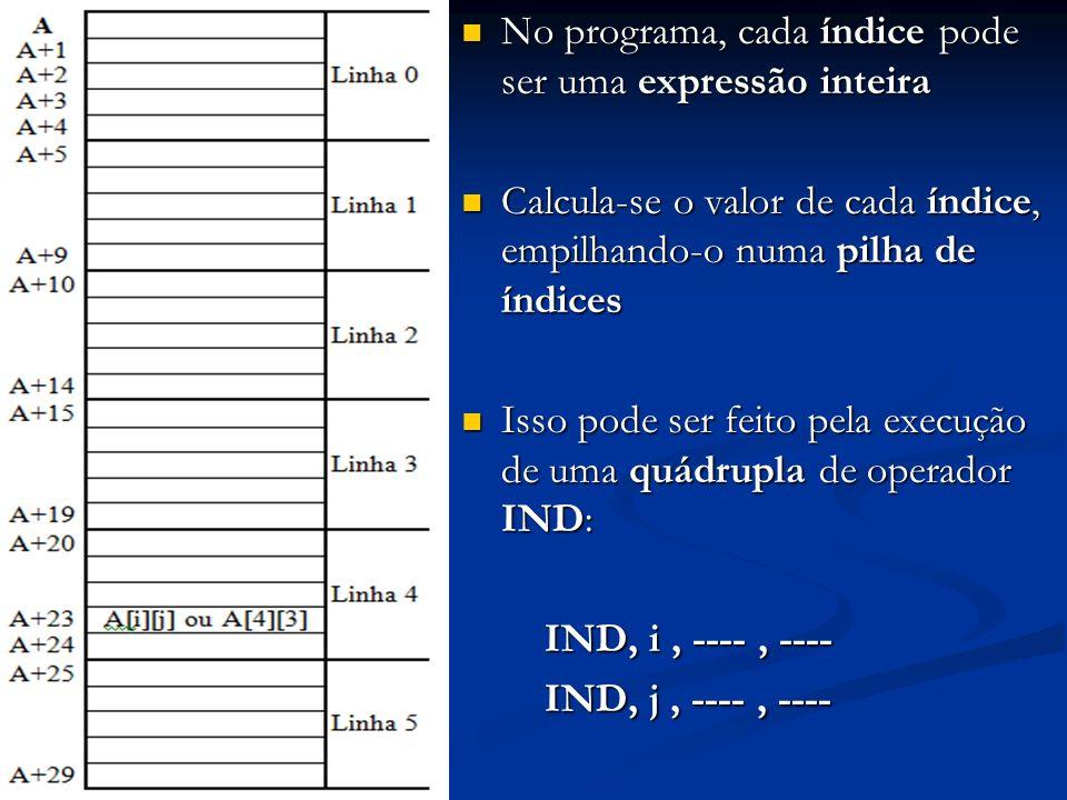 No programa, cada índice pode ser uma expressão inteira