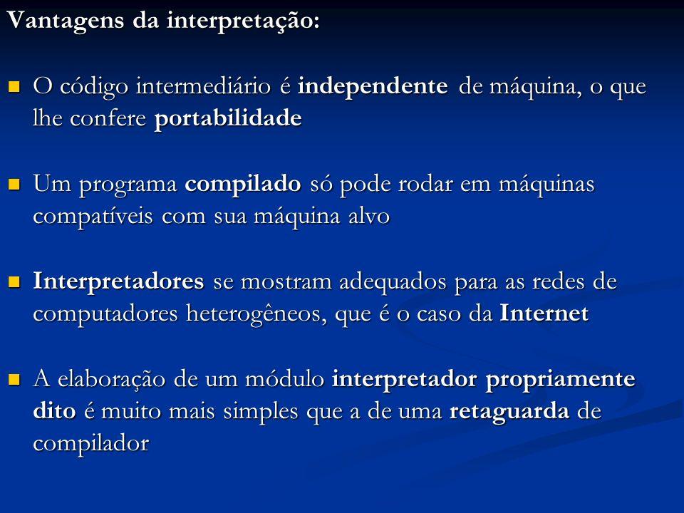 Vantagens da interpretação: