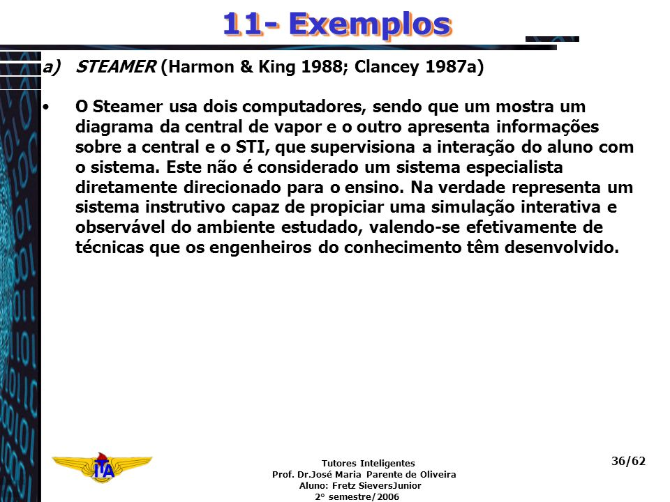 11- Exemplos STEAMER (Harmon & King 1988; Clancey 1987a)