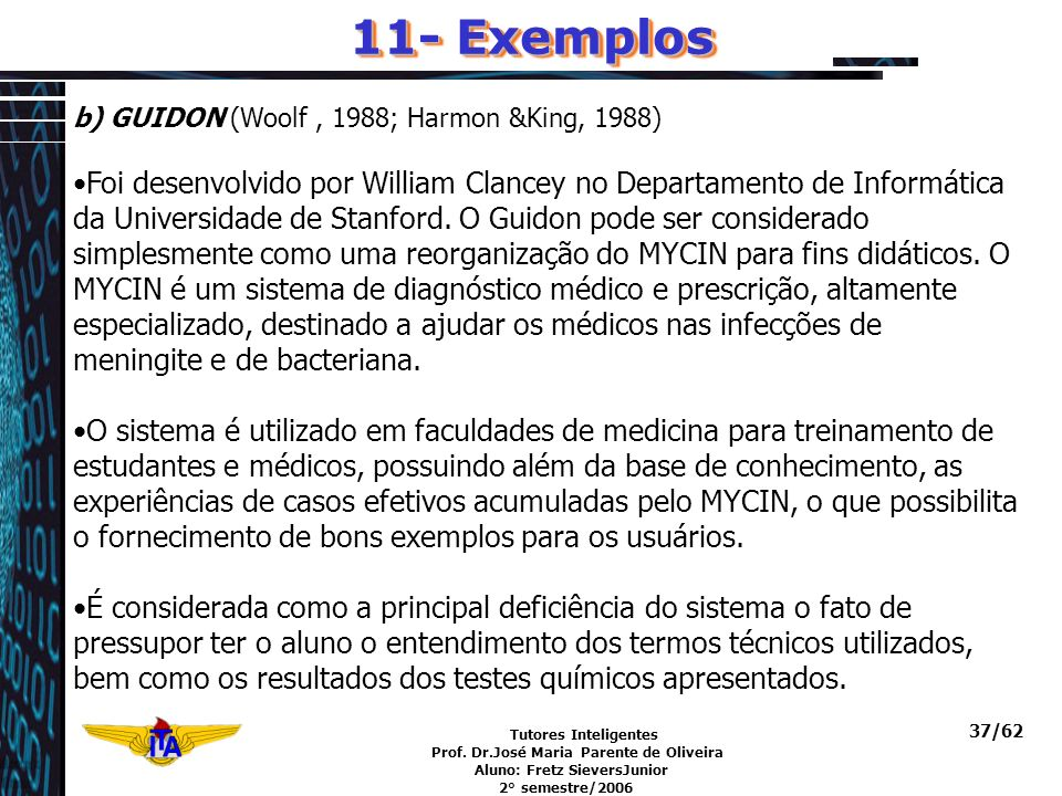 11- Exemplos b) GUIDON (Woolf , 1988; Harmon &King, 1988)