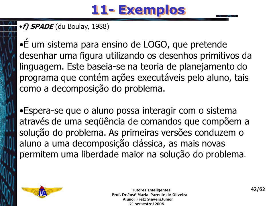 11- Exemplos f) SPADE (du Boulay, 1988)