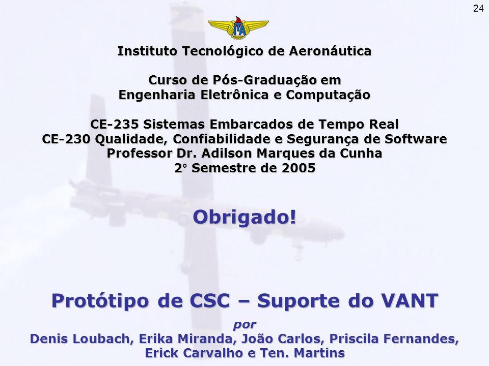 Obrigado! Protótipo de CSC – Suporte do VANT