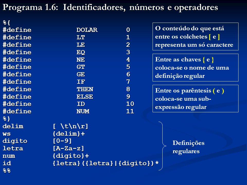 Programa 1.6: Identificadores, números e operadores