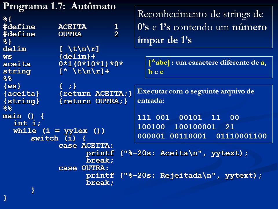 Reconhecimento de strings de 0's e 1's contendo um número ímpar de 1's
