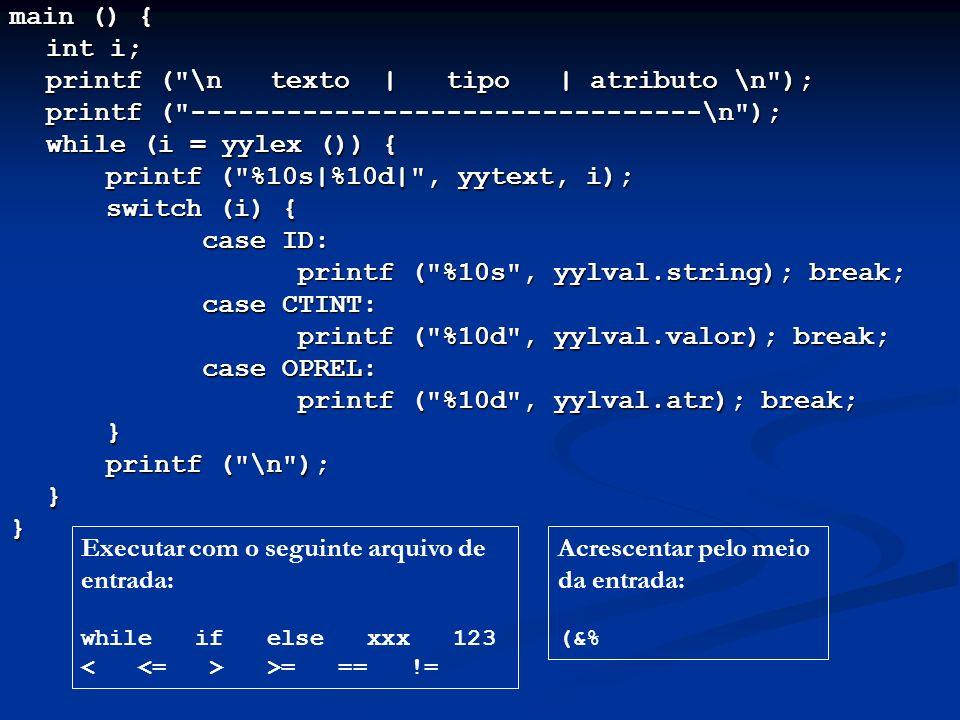 printf ( \n texto | tipo | atributo \n );