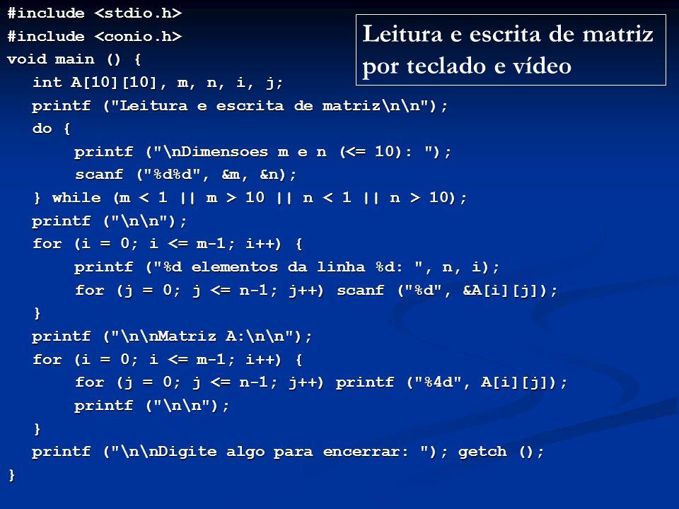Leitura e escrita de matriz por teclado e vídeo