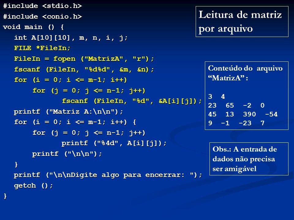 Leitura de matriz por arquivo