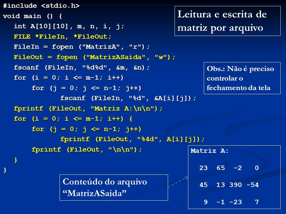 Leitura e escrita de matriz por arquivo