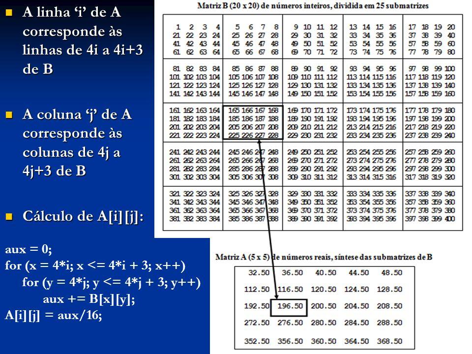 A linha 'i' de A corresponde às linhas de 4i a 4i+3 de B