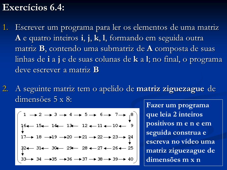 Exercícios 6.4: