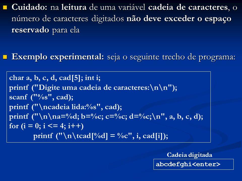 Exemplo experimental: seja o seguinte trecho de programa: