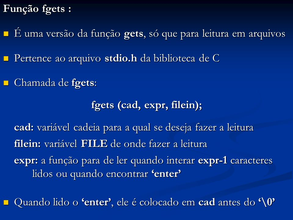 fgets (cad, expr, filein);
