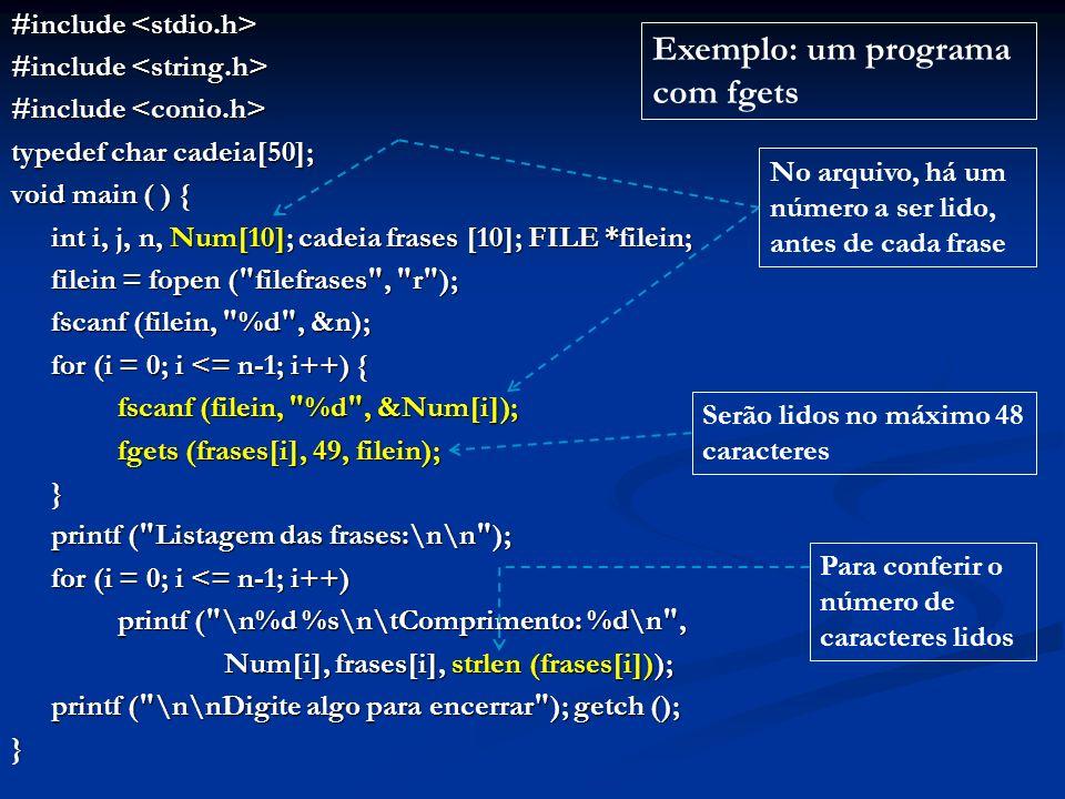 Exemplo: um programa com fgets