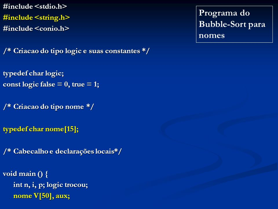 Programa do Bubble-Sort para nomes