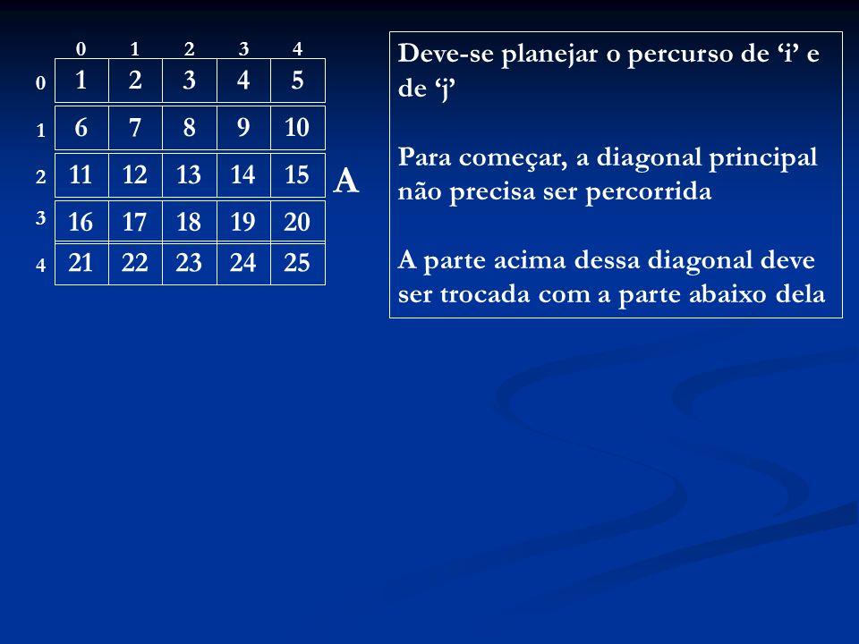 12. 3. 4. 5. 6. 7. 8. 9. 10. 11. 12. 13. 14. 15. 16. 17. 18. 19. 20. 21. 22. 23. 24. 25. Deve-se planejar o percurso de 'i' e de 'j'