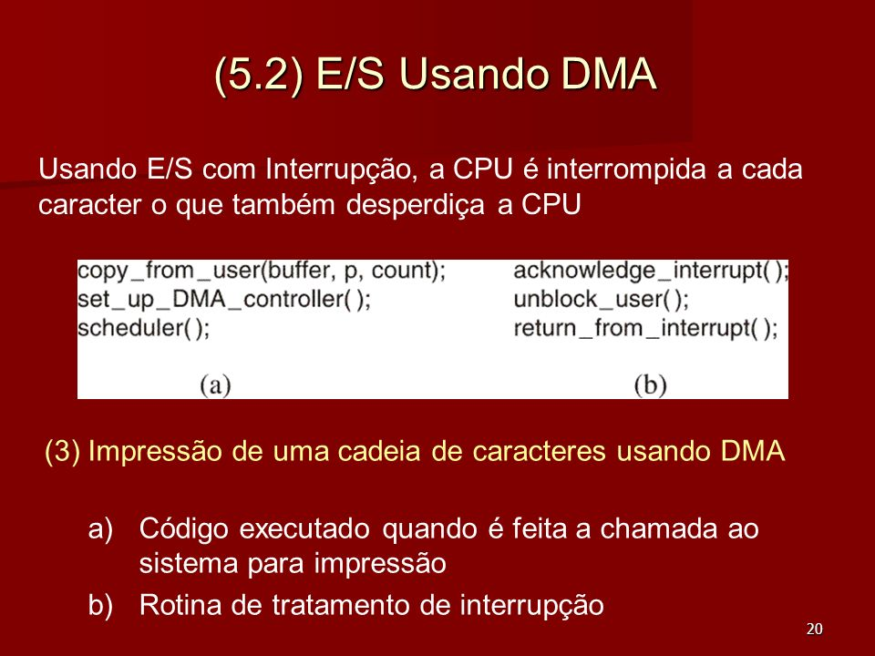 (5.2) E/S Usando DMAUsando E/S com Interrupção, a CPU é interrompida a cada caracter o que também desperdiça a CPU.