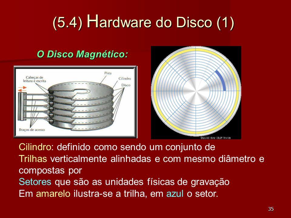 (5.4) Hardware do Disco (1) O Disco Magnético: