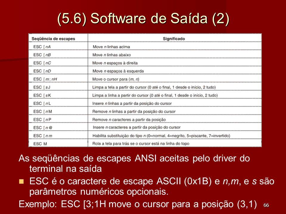 (5.6) Software de Saída (2) As seqüências de escapes ANSI aceitas pelo driver do terminal na saída.