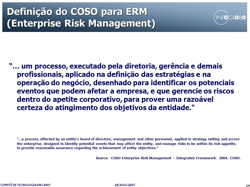 Definição do COSO para ERM (Enterprise Risk Management)