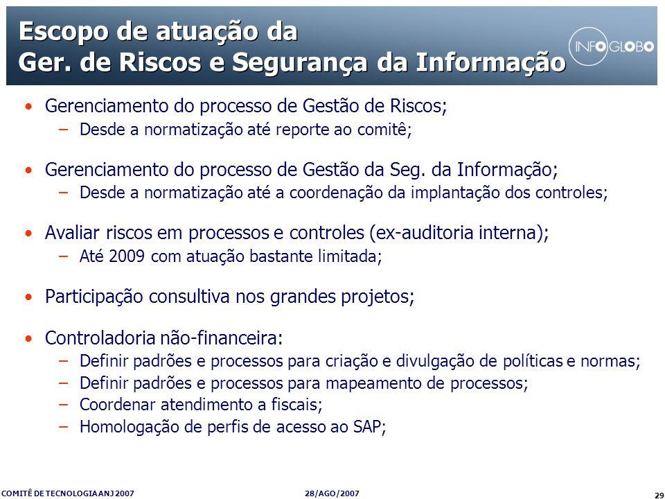 Escopo de atuação da Ger. de Riscos e Segurança da Informação
