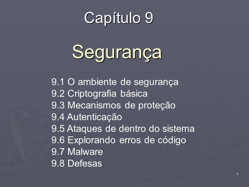 Segurança Capítulo 9 9.1 O ambiente de segurança