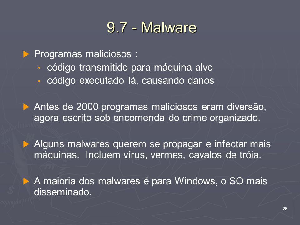 9.7 - Malware Programas maliciosos :