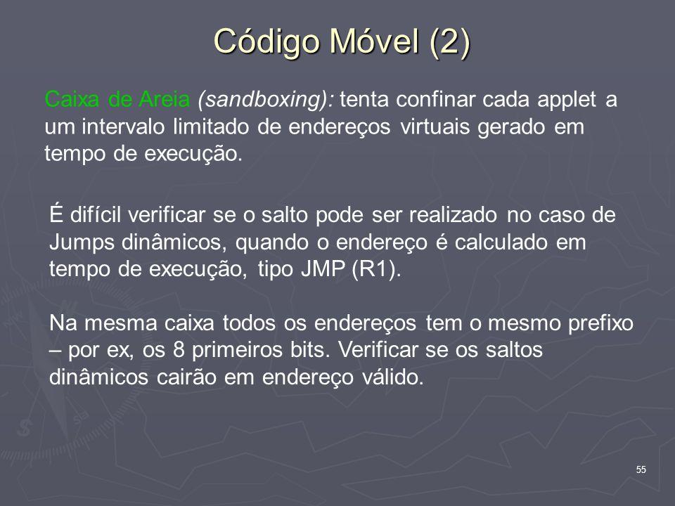 Código Móvel (2) Caixa de Areia (sandboxing): tenta confinar cada applet a um intervalo limitado de endereços virtuais gerado em tempo de execução.