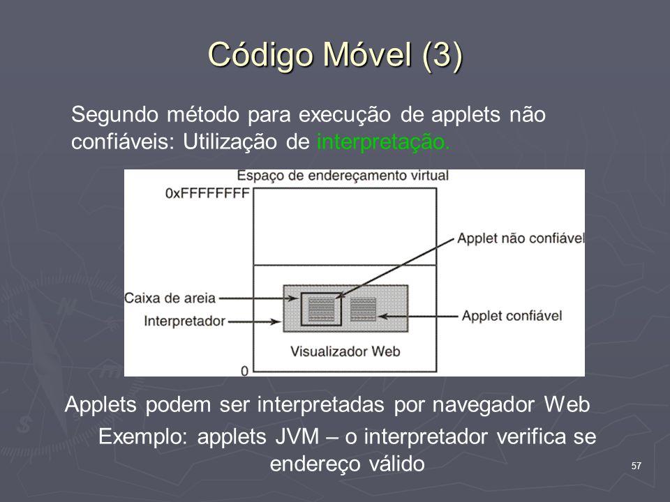 Exemplo: applets JVM – o interpretador verifica se endereço válido