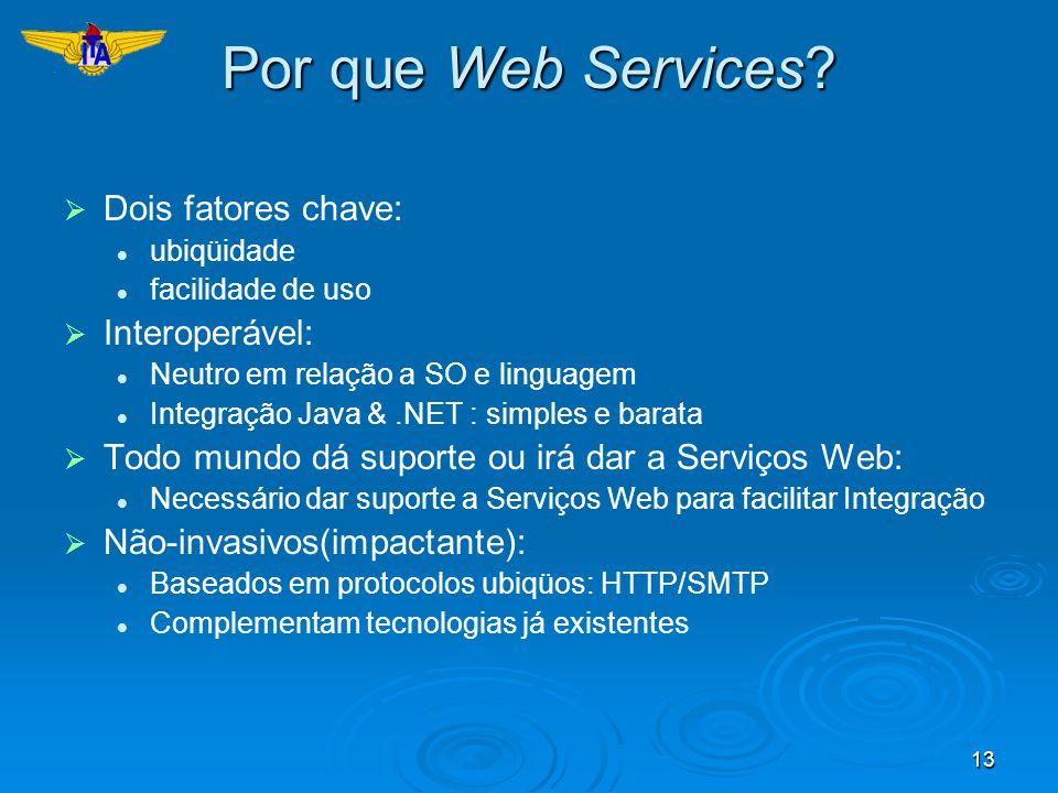 Por que Web Services Dois fatores chave: Interoperável: