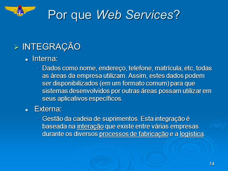 Por que Web Services INTEGRAÇÃO Interna: Externa: