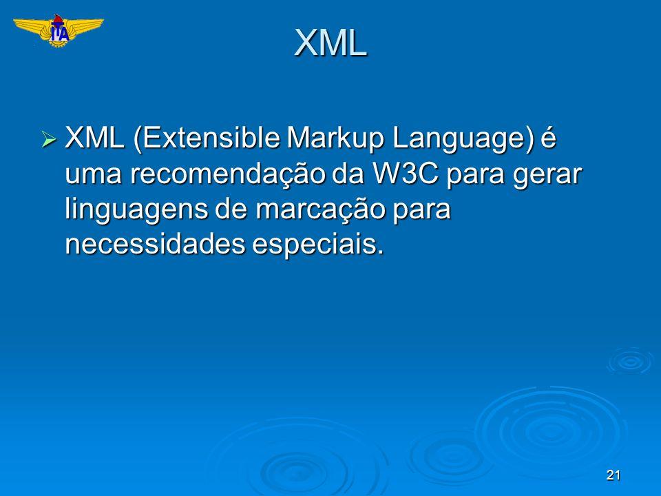 XMLXML (Extensible Markup Language) é uma recomendação da W3C para gerar linguagens de marcação para necessidades especiais.
