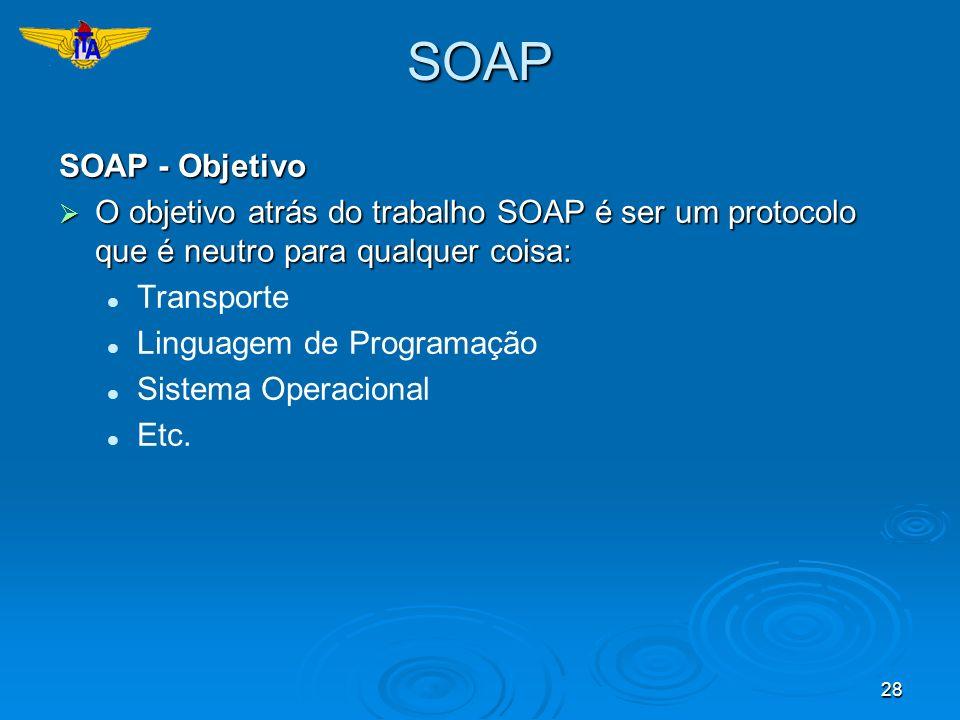 SOAP SOAP - Objetivo. O objetivo atrás do trabalho SOAP é ser um protocolo que é neutro para qualquer coisa:
