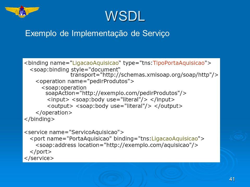 WSDL Exemplo de Implementação de Serviço