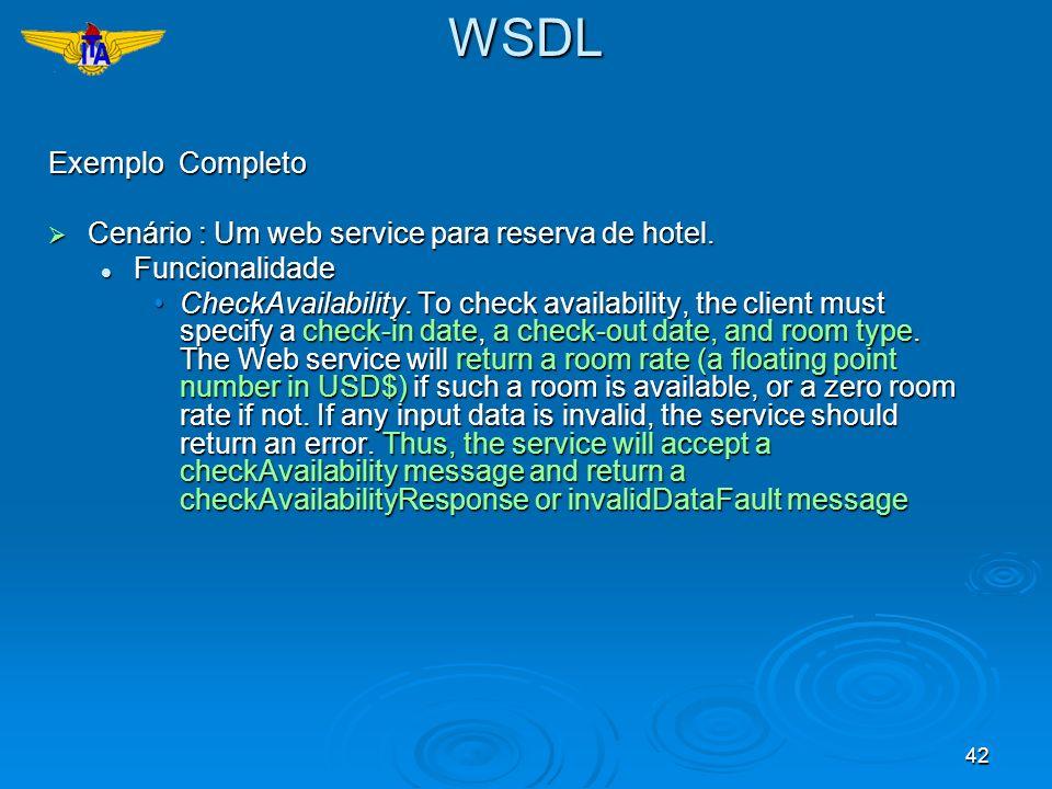 WSDL Exemplo Completo Cenário : Um web service para reserva de hotel.