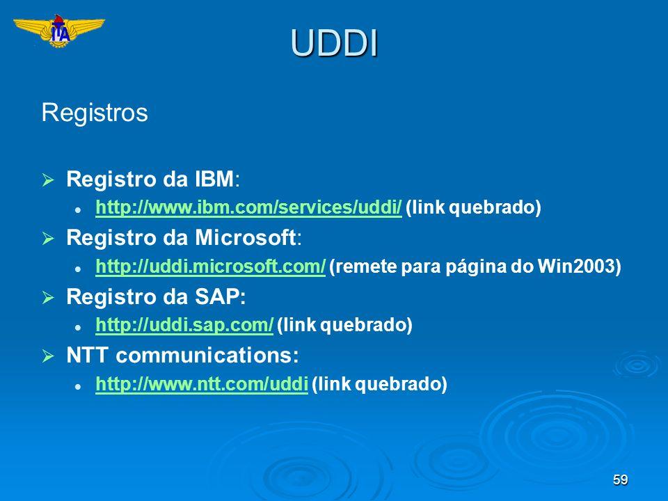 UDDI Registros Registro da IBM: Registro da Microsoft: