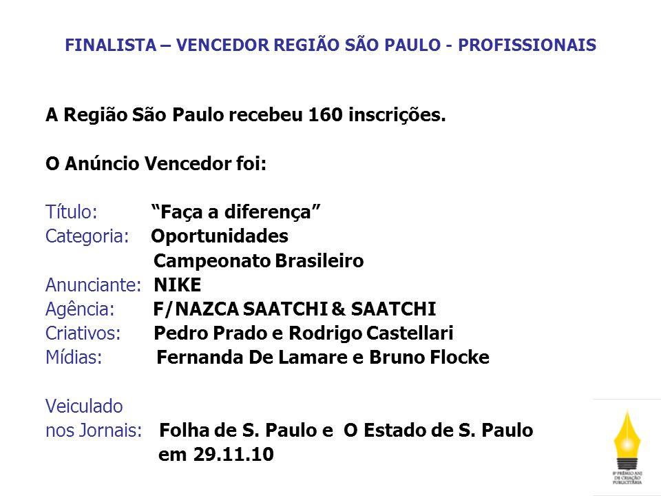 FINALISTA – VENCEDOR REGIÃO SÃO PAULO - PROFISSIONAIS