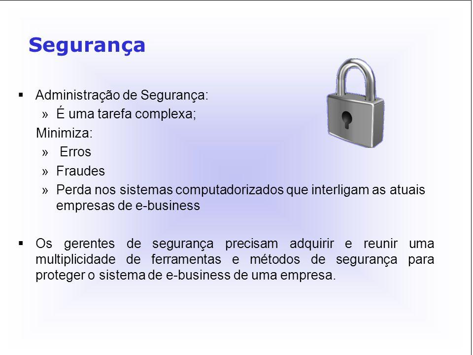 Segurança Administração de Segurança: É uma tarefa complexa; Minimiza: